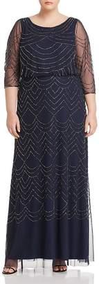 Adrianna Papell Plus Beaded Mesh-Detail Maxi Dress