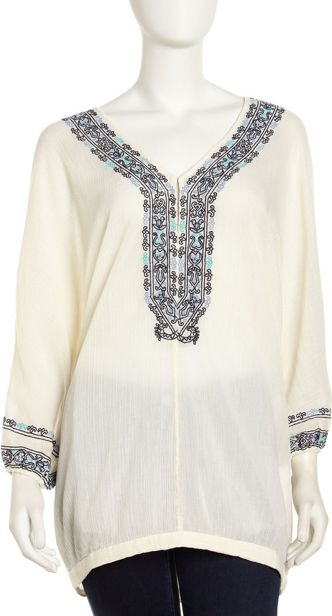Joie Bahamas Embroidered Tunic, Vintage Porcelain