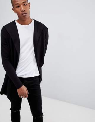 Bershka Textured Cardigan With Hood In Black