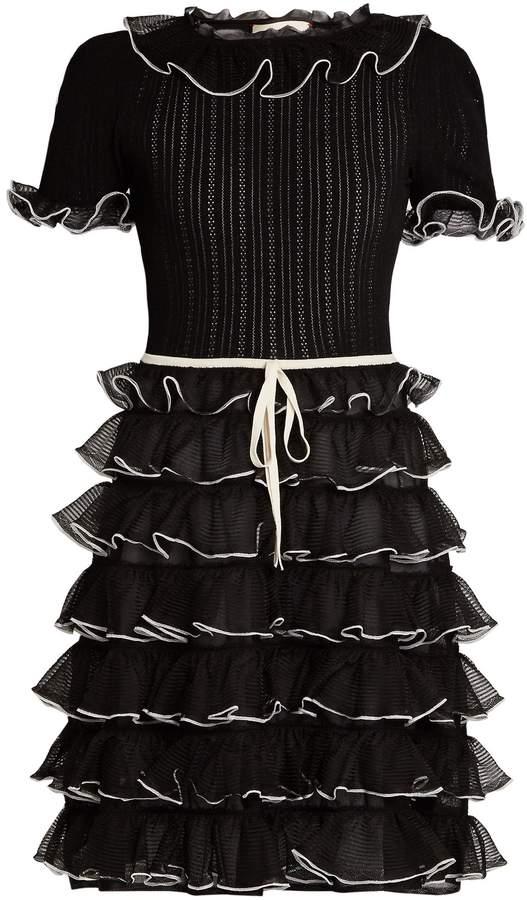 GucciGUCCI Pointelle-knit short-sleeved ruffled silk dress