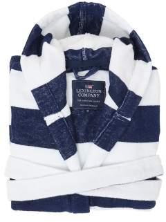 Lexington Hood Terry Robe Blue-white