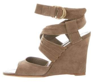 Louis Vuitton Suede Wedge Sandals