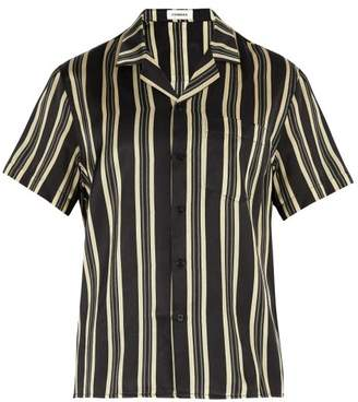 Commas - Striped Camp Collar Shirt - Mens - Black Multi