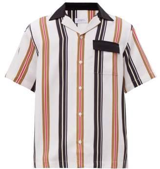 Saturdays NYC Xavier Striped Cuban Collar Shirt - Mens - White Multi