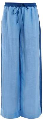 Diane von Furstenberg Wide Leg Linen Blend Trousers - Womens - Blue