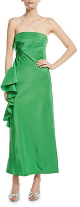 Sachin + Babi Esma Taffeta Bustier Strapless Asymmetric Ruffle Gown
