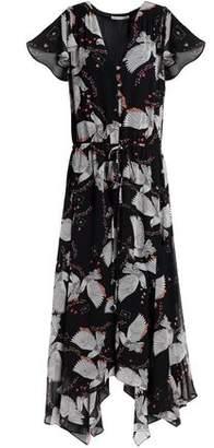 Rebecca Minkoff Fluted Printed Chiffon Midi Dress