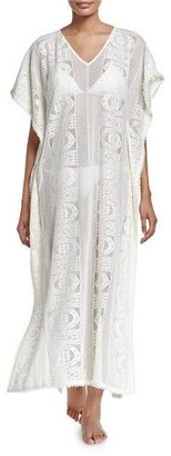 Seafolly Floral Lace Maxi-Caftan Coverup, Milk $302 thestylecure.com