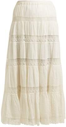 Mes Demoiselles Havilah lace-insert tiered skirt