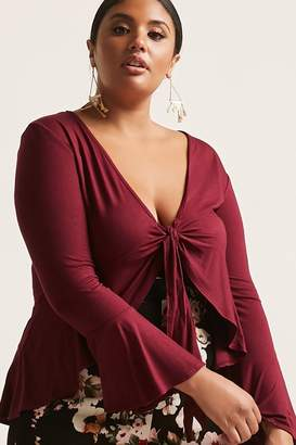 Forever 21 Plus Size Knit Tie-Front Ruffle-Trim Top