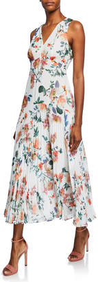 Maggy London Floral Pleated Drop-Waist Maxi Dress