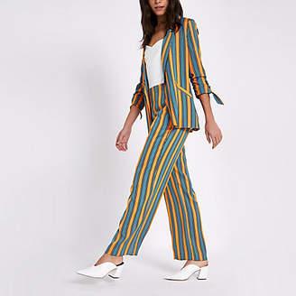 River Island Blue stripe print wide leg pants