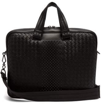 Bottega Veneta - Intrecciato Leather Studded Briefcase - Mens - Black