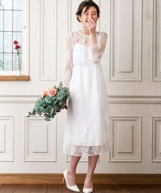 form forma 【WEB限定・結婚式・ウェディングドレス】kaene×formforma/フラワーチュールレース 袖付きロングウェディングドレス