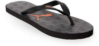 Puma Grey & Orange Printed Logo Flip Flops