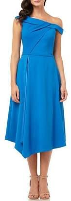 Carmen Marc Valvo One-Shoulder Asymmetric Satin-Lined Midi Crepe Dress