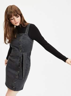 453e93a5441 Miss Selfridge Black Denim Belted Pinafore Dress