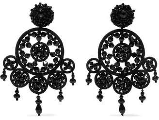 Oscar de la Renta Dreamcatcher Bead And Silk Clip Earrings - Black