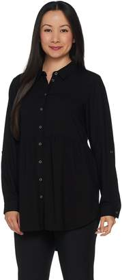 Joan Rivers Classics Collection Joan Rivers Button Front Blouse with Gathered Detail