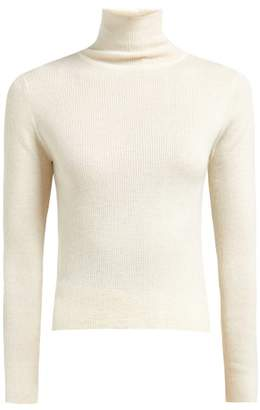 Roche Ryan Ryan High Neck Ribbed Knit Cashmere Sweater - Womens - White 4384074c6