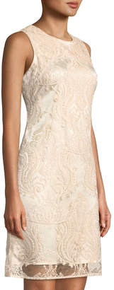 Taylor Embroidered-Mesh Shift Dress