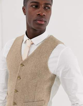 Asos Design DESIGN wedding slim suit vest in 100% wool Harris Tweed in camel