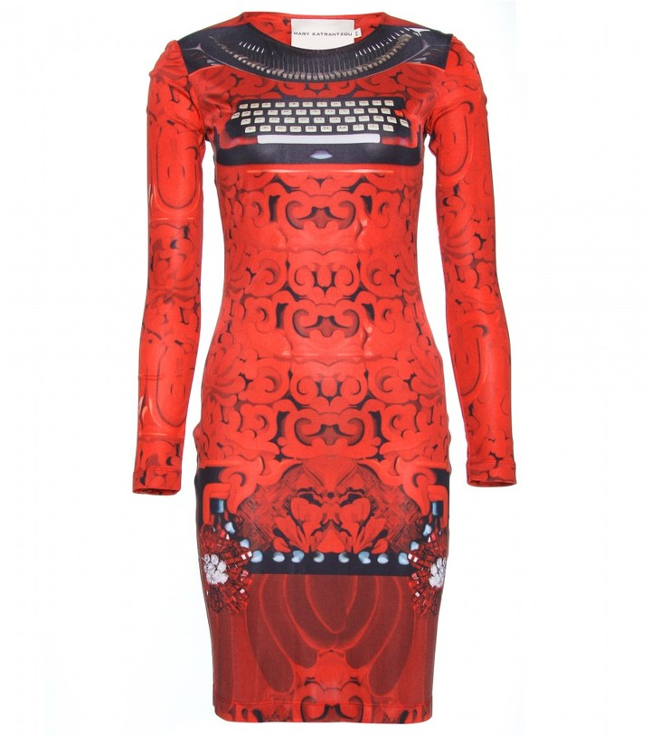 Mary Katrantzou TYPO SILK-JERSEY DRESS
