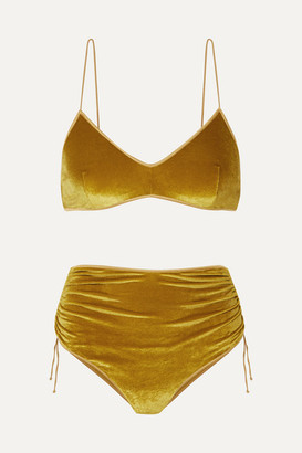 Oseree Ruched Stretch-velvet Bikini - Gold