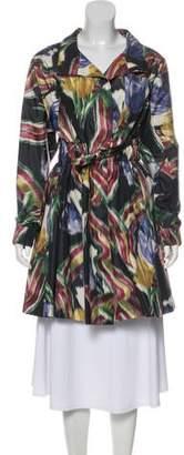 Oscar de la Renta Belted Silk Coat
