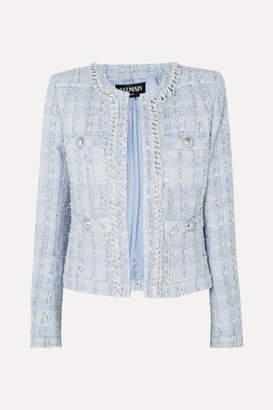 Balmain Chain And Button-embellished Metallic Tweed Blazer - Blue