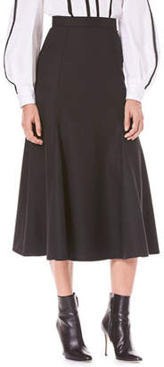 Carolina Herrera Flared Calf-Length Wool Midi Skirt