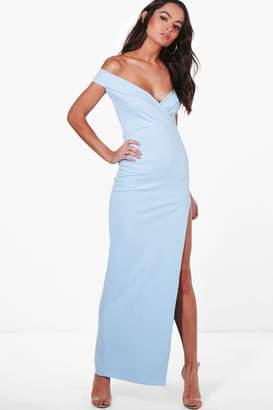 boohoo Wrap Top Bardot Maxi Dress