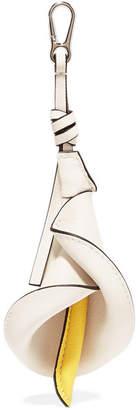 Loewe Calla Textured-leather Bag Charm - White