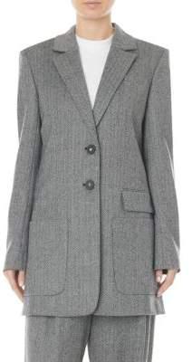 Tibi Herringbone Virgin Wool& Cashmere Car Coat