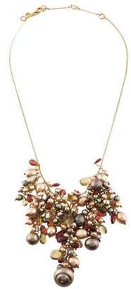 Alexis Bittar Pearl & Multistone Cluster Bib Necklace