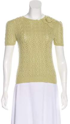 Oscar de la Renta Cable Knit Cashmere Top