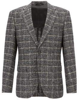 BOSS Hugo Plain-check blazer in blended fabric elbow patches 42R Black