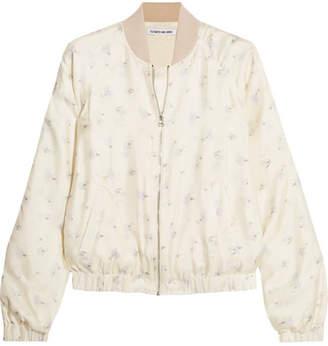 Jacque Floral-print Silk-satin Bomber Jacket - Ivory