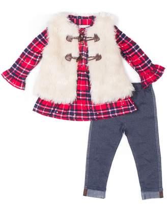 Little Lass Girls 4-6x Plaid Sequin Henley, Faux-Fur Vest & Jeggings Set