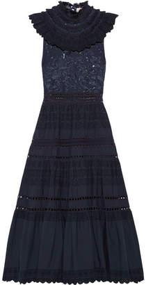 Fringed Lace And Crochet-trimmed Cotton-poplin Midi Dress - Navy Sea New York o7OyO00