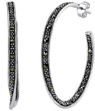 FINE JEWELRY Marcasite and Sterling Silver 22mm Hoop Earrings