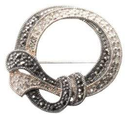 Lord & Taylor Sterling Silver And Marcasite Crystal Round Pin