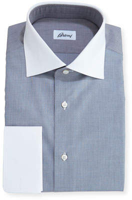 Brioni End-on-End Dress Shirt with Contrast Collar & Cuffs, Gray
