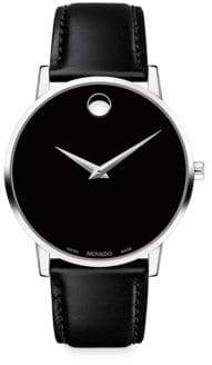 Movado Museum Classic Leather-Strap Watch - Black
