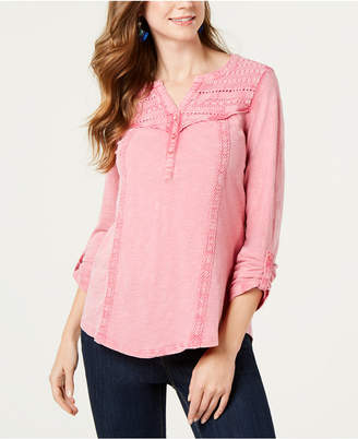 Style&Co. Style & Co Petite Cotton Crochet-Trim Roll-Tab Top