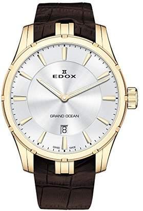 Edox Men's 'Grand Ocean' Swiss Quartz Gold-Tone and Rubber Diving Watch
