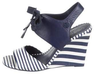 Tory Burch Striped Lace-Up Wedges