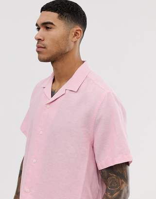 Asos Design DESIGN oversized linen shirt with revere collar in pink