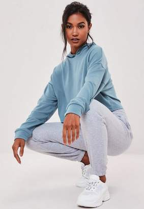 Missguided Blue Contrast Stitch Cropped Hoodie