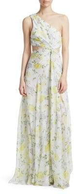 Elizabeth and James Goldie One-Shoulder Floral Silk Gown